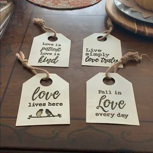Set of 4 Love Story Collection Metal wall Plaques